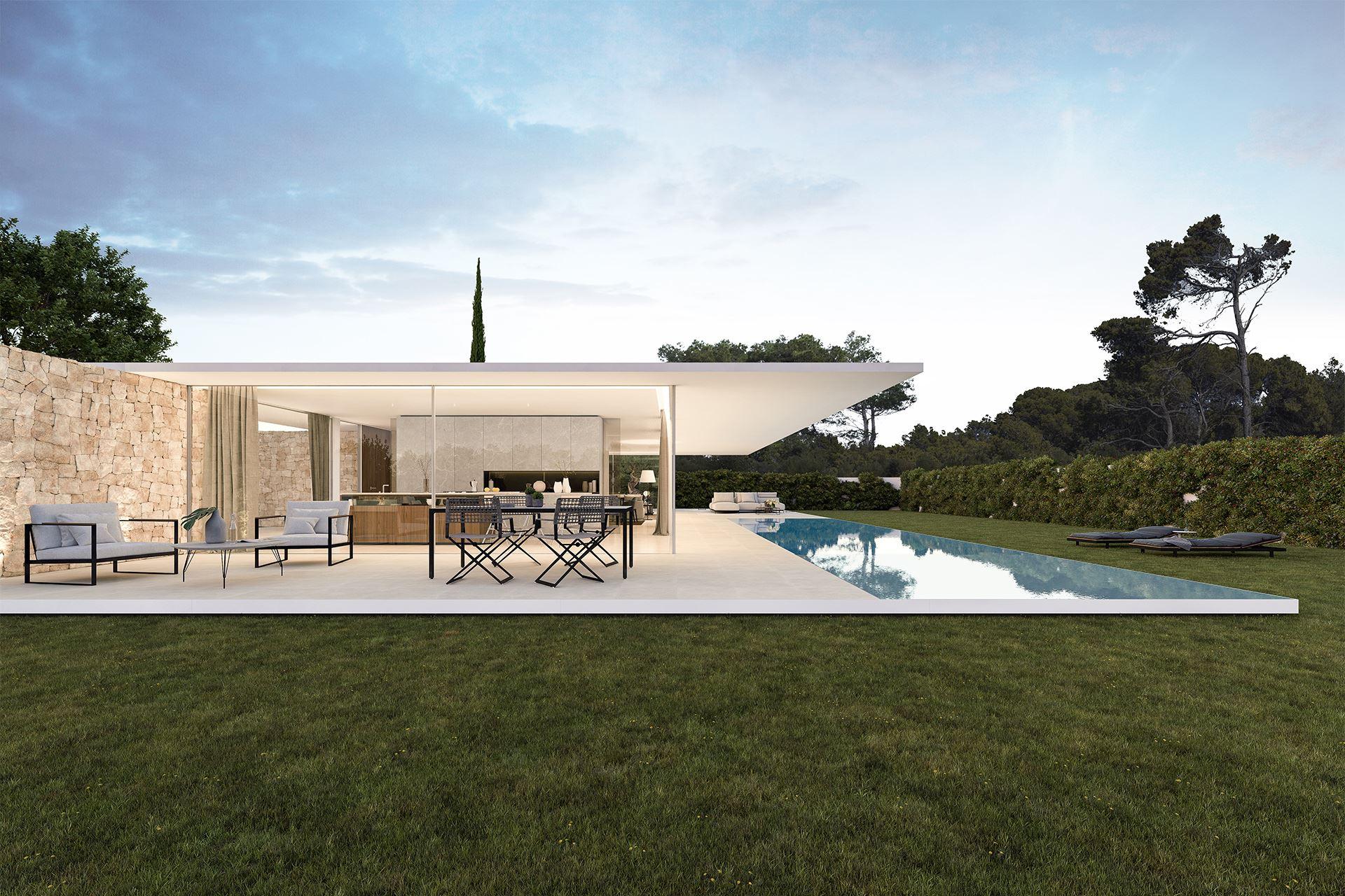 Jardin y piscina de vivienda